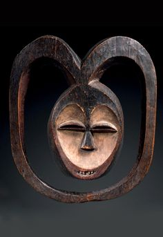 Africa | Africa | Mask from the Kwele people of Gabon / French Congo | ca. prior to 1930 | Wood and pigment