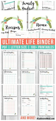 Printable Ultimate Life Binder Home, Budget + Recipe Binder is part of Organization Life Binder - Easily get all aspects of your life organized with our printable Ultimate Life Binder! It contains printable pages (including pretty covers and dividers)! Project Life Organization, Binder Organization, Household Organization, Organizing Life, School Organization, Bathroom Organization, Life Binder, Binder Templates, Budget Binder