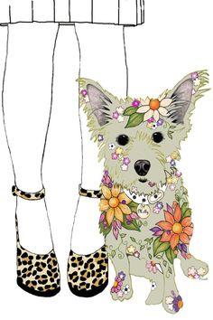 Children's Wall Art -Cairn Terrier and Girl - Art Print - 8 x 10 - Floral Art on Etsy, $24.95