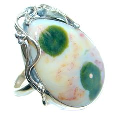 $70.55 AAA+quality+Ocean+Jasper++Sterling+Silver+handcrafted+Ring+size+adjustable at www.SilverRushStyle.com #ring #handmade #jewelry #silver #jasper
