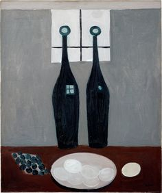 William Scott, Two Bottles and Eggs, 1949 or 1950, Oil on canvas, 61 × 50.8 cm / 24 × 20 in, Private collection