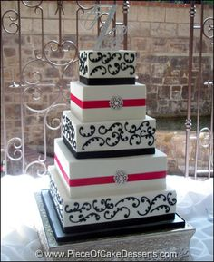 Buttercream frosted wedding cake with some bling!