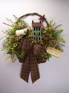 Primitive Country Basket Wreath...with a sheep, saltbox house & a rusty star spring flowers or winter green