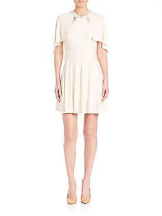 ABS Studded Cape Dress - Cream - Size