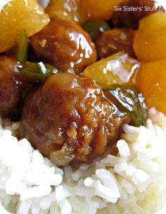 Slow Cooker Hawaiian Meatballs.  The sauce will knock your socks off!