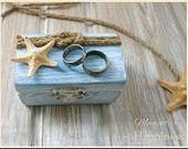 Wedding Ring Box Beach Wedding Ring Pillow Holder Ring Bearer Nautical wedding jewelry Boxes Wood storage