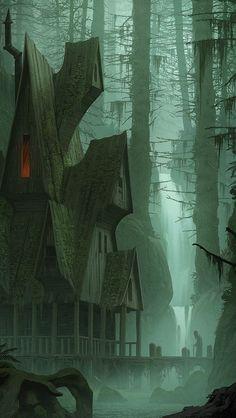 Dark Fantasy Art, Fantasy Artwork, Fantasy World, Dark Artwork, Amaterasu, Scary Places, Landscape Artwork, Fantasy Setting, Warhammer Fantasy