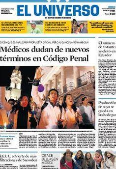 Portada de #DiarioELUNIVERSO del 26 de octubre del 2013.  Las noticias del día en: www.eluniverso.com