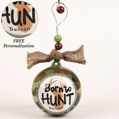 Born to Hunt Deer Ornament Multi Warm