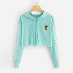 Angie Pineapple Checkered Crop Top Hoodie in Mint Turquoise - . - Angie Pineapple Checkered Crop Top Hoodie in Mint Turquoise – # - Teen Fashion Outfits, Trendy Outfits, Girl Outfits, Fashion Women, Style Fashion, Fashion Ideas, Cute Teen Outfits, Fashion Top, Tween Fashion
