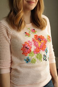 Über Chic for Cheap: DIY: Floral Cross Stitch Sweater  #fashion #craft #DIY
