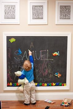 Magnet/chalkboard wall for Olivias playroom!<br> Magnet/chalkboard wall for Olivias playroom! Small Playroom, Toddler Playroom, Playroom Storage, Playroom Design, Toddler Rooms, Boys Bedroom Ideas Toddler Small, Small Kids Playrooms, Kids Playroom Ideas Toddlers, Toddler Girl