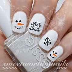 Christmas Nail Art Let it Snow Snowman Face Nail Water Decals
