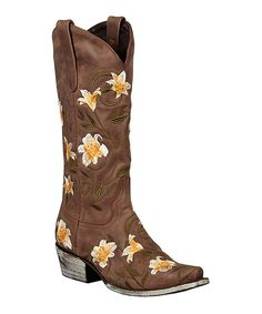 Another great find on #zulily! Lane Boots Brown Embroidered Veronica Cowboy Boots by Lane Boots #zulilyfinds $175!