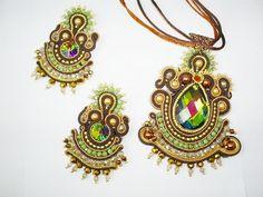 OOAK soutache set pendant and earrings handmade by mysweetcrochet, $270.00