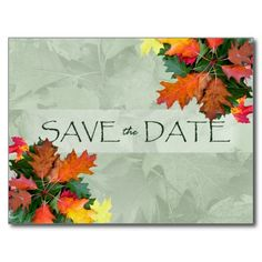 Fall Wedding Save the Date, Oak Leaves Postcard
