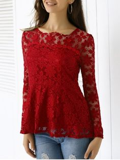Elegant Applique Solid Color Top For Women buy online store in Europe. All clothing in one place. Clothing Sites, Online Clothing Stores, Cheap Clothes Online, Long Sleeve Tunic, Vintage Shirts, Flare Dress, Spring, Cool Outfits, Tunic Tops