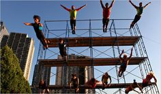 """River to River Festival Members of the Streb Extreme Action Company performing """"Human Fountain"""" at the World Financial Center Plaza as part of the River to River Festival."""