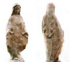 JE BAAK | HADA CONTEMPORARY |    The Complex Question Fallacy 006 | sanded and bleached money on statue of the Virgin Mary | 120x45x40 cm | 2012