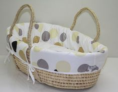 """Retro """"Funky"""" Moses Basket makes a fantastic bassinet - Modern Mosses Basket, Newborn Bed, Basket Liners, Baby Baskets, Market Baskets, Baby Bassinet, Baby Sewing, Baby Items, Gifts For Kids"""
