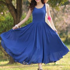 $17.11 Bohemian Women's Scoop Neck Sleeveless Blue Chiffon Dress