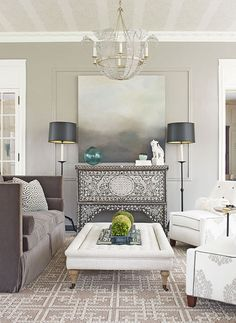 Positioned against the wall under a landscape oil painting, a 19th-century Syrian wedding chest boasts mother-of-pearl inlays for inverted contrast. // Living Rooms