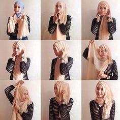 Such a cute hijab style. Tutorial Hijab Modern, Square Hijab Tutorial, Hijab Style Tutorial, Hijab Chic, Stylish Hijab, Casual Hijab Outfit, Islamic Fashion, Muslim Fashion, Hijab Fashion