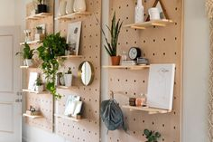 DIY: Make your own pegboard with shelves - perfect for plants and pretty things!