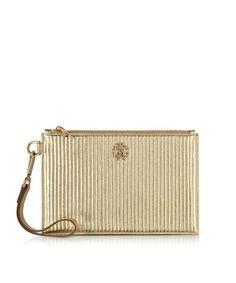ROBERTO CAVALLI Roberto Cavalli Women's  Gold Leather Clutch. #robertocavalli #bags #leather #clutch #hand bags #