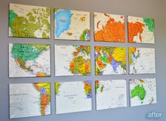 Sheer Mapness! Easy DIY large wall art for home or office. How to instructions. Love this! Could use ANY paper or fabric!