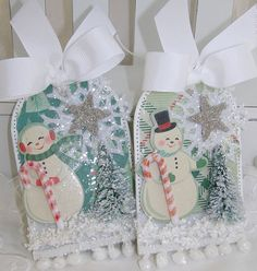 Retro Style Snowman and Snowflake Handmade Christmas Tags