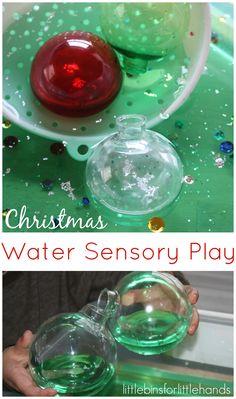 Christmas Sensory Play with ornaments and water sensory bin play