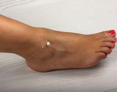 Ankle bracelet anklet freshawater pearl by DeniasTreasures on Etsy, $19.00