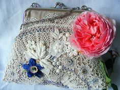 handmade purse by hens teeth, via Flickr--love the layering of doillie and lace... #lace #vintage #crochet