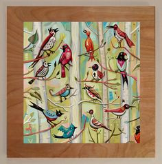 Fanciful birds in the leaves of the trees near my home in Haw Creek, North Carolina.   Archival hand finished print mounted on wood board. Approximately 12 inches by 12 inches, and usually a 1 inch border.  Piece comes ready to mount on the wall. A simple drawing included on the back of each piece. These hand produced pieces are made individually so sizes are approximate. Custom sizes and originals are available.