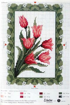 cuadro de flores | laboresdeesther Punto de cruz gratis