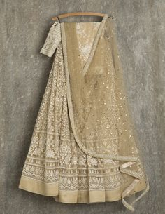 SwatiManish Lehengas SMF LEH 131 17 Golden straw lehenga and dupatta with threadwork and sequin blouse
