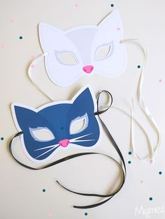 Chat noir ou chat blanc ? C'est à vous de choisir votre masque de chat à imprimer ! Diy For Kids, Crafts For Kids, Clown Crafts, Adornos Halloween, Cat Mask, Cat Birthday, Mask For Kids, Toddler Fun, Mardi Gras