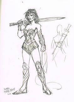 The new Earth-2 Wonder Woman concept by Jim Lee. This definitely isn't your Golden Age variety, which is a good thing.