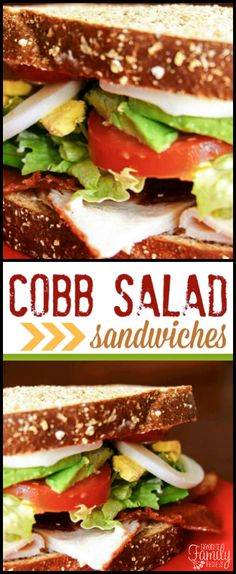 Our Cobb Salad Sandwiches are a delicious twist on your typical Cobb salad. It is an easy way to have Cobb salad on the go! via @favfamilyrecipz