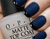 OPI  Matte Navy Reverse Tuxedo Manicure. OPI Russian Navy, Black Onyx, matte top coat with complete easy to follow instructions