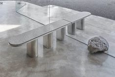 Seoul-based designer Jeonghwa Seo has constructed custom furniture to complement the raw concrete interior of Et Cetera, a cafe and wine bar. Wine Bar Furniture, Bar Furniture For Sale, Custom Furniture, Furniture Design, Furniture Ideas, Furniture Board, Plywood Furniture, Chair Design, Modern Furniture