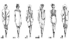 Fashion Sketchbook - fashion design illustrations; lineup drawings; fashion portfolio // Rosa Pietsch