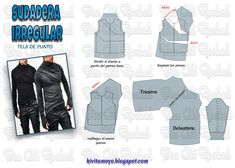 How to draft a pattern for an irregular shirt with thumb holes for the sleeves. Mens Sewing Patterns, Sewing Paterns, Clothing Patterns, Barbie Clothes, Sewing Clothes, Diy Clothes, Underwear Pattern, Cosplay Diy, Jacket Pattern
