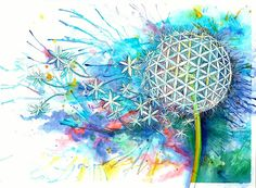 Would love this as a tattoo!              Flower of Life Watercolor PRINT by NWSacredArt on Etsy, $40.00