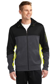 NEW Sport-Tek® Tech Fleece Colorblock Full-Zip Hooded Jacket. ST245.
