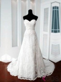 d52159bd48e Elegant A-line Sweetheart Lace-up Court Train Lace Beading Appliques Wedding  Dress Custom