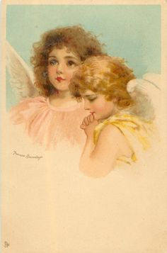two angel heads, one brunette looking up, another with golden locks & hands in position of prayer looks down