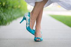 Wedding Shoes - Blue Bridal Heel/Wedding Shoes with Ivory Lace. US Size 7.5. $65.00, via Etsy.