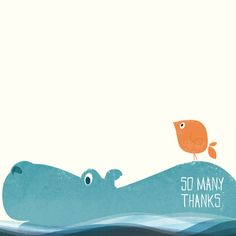 elsbeth leupen illustration & design, greeting card, Hippo & bird - So many thanks